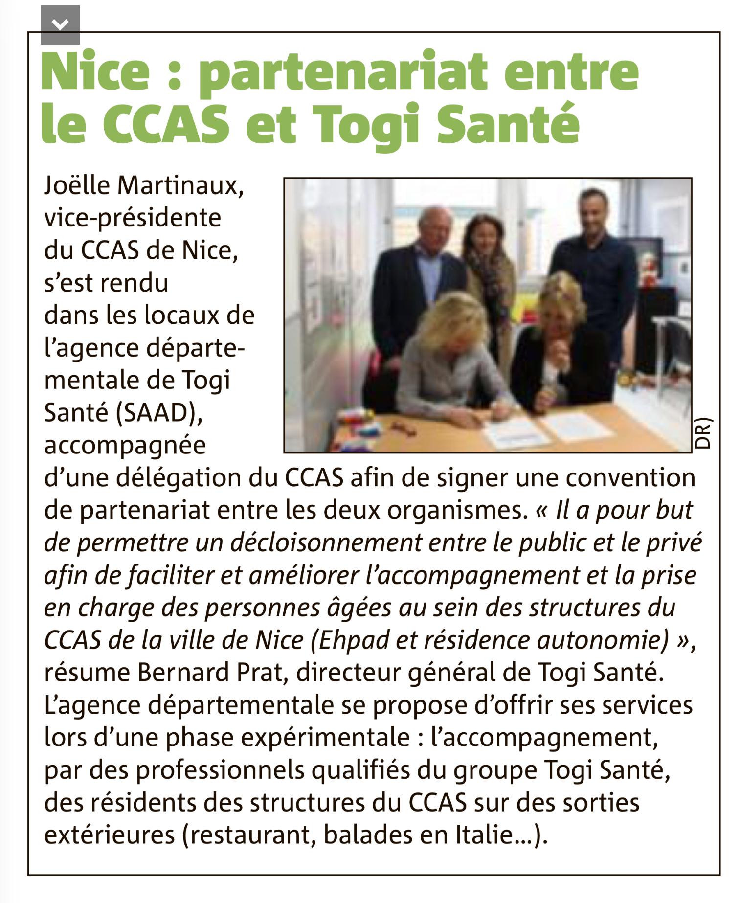 Partenariat avec le CCAS de la Ville de Nice